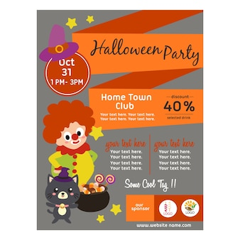 Halloween poster with clown kid flat style