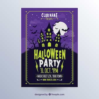 Halloween poster with creepy house Free Vector