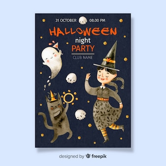 Halloween poster with dancing witch