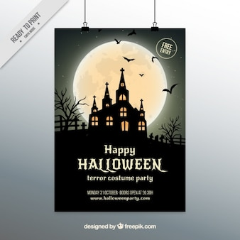 Halloween poster with haunted house