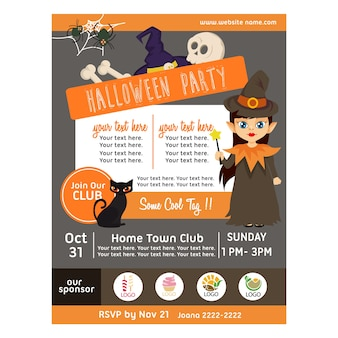 Halloween poster with kid wizard flat style