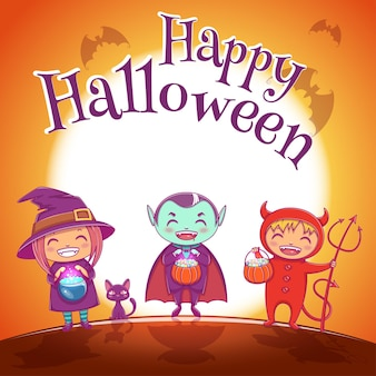 Halloween poster with kids in costumes of witch, vampire and devil for happy halloween party. on jrange background with full moon. for posters, banners, flyers, invitations, postcards.