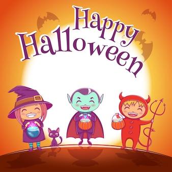 해피 할로윈 파티를 위해 마녀, 뱀파이어, 악마 의상을 입은 아이들이 있는 할로윈 포스터. 보름달이 있는 jrange 배경. 포스터, 배너, 전단지, 초대장, 엽서.