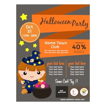 Halloween poster with lovable kid wizard flat style