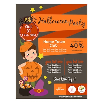 Halloween poster with pumpkin ball kid flat style