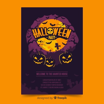Halloween poster with pumpkins on a full moon night