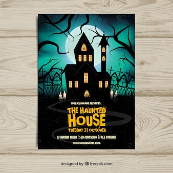 Halloween poster with realistic haunted house