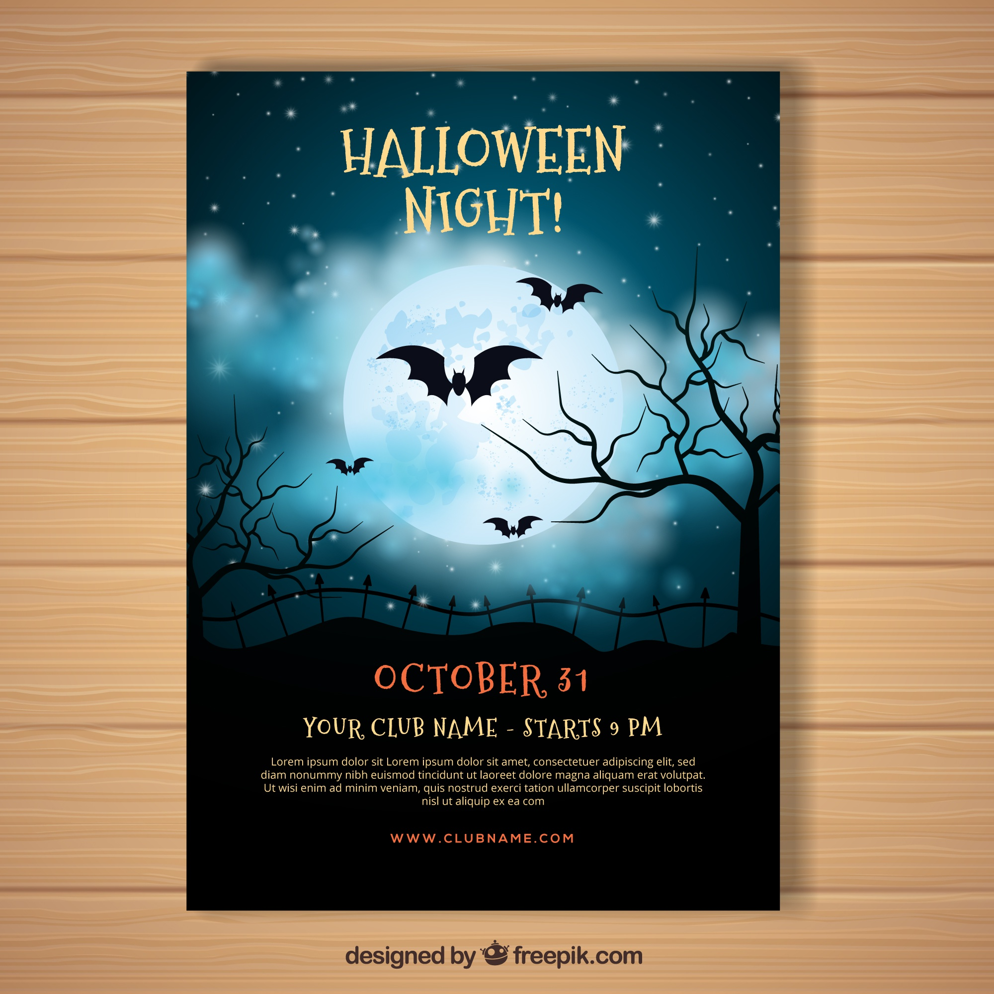 Halloween poster with realistic night sky