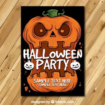 Halloween poster with terrifying pumpkin
