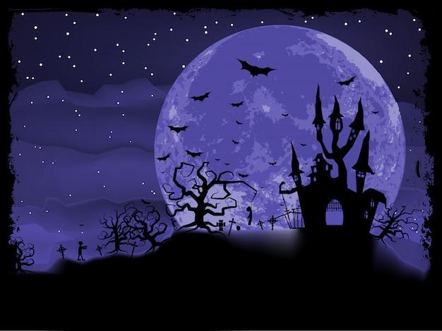 Плакат на хэллоуин с фоном зомби. файл включен