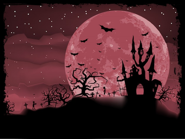 ゾンビの背景を持つハロウィンのポスター。含まれるファイル