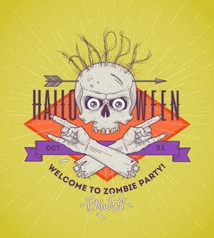 Halloween poster with zombie head and hand - line art illustration