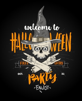 Halloween poster with zombie head in witch hat and severed hand - line art illustration with hand drawn brush calligraphy.