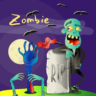 Halloween poster with zombie near rip gravestone