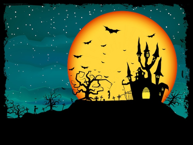 ゾンビとハロウィンのポスター。