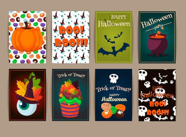 Halloween posters set. illustration.