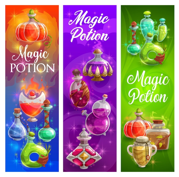 Halloween posters with witch magic potions bottles