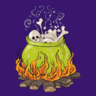 Halloween pot with potion, skull and bones.