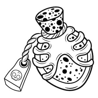 Эскиз зелья хэллоуина для раскраски