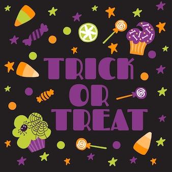 Halloween printable card with cartoon cute pumpkins ghosts witches bats bones stars