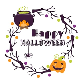 Halloween printable cards with cartoon cute pumpkins ghosts witches bats bones stars