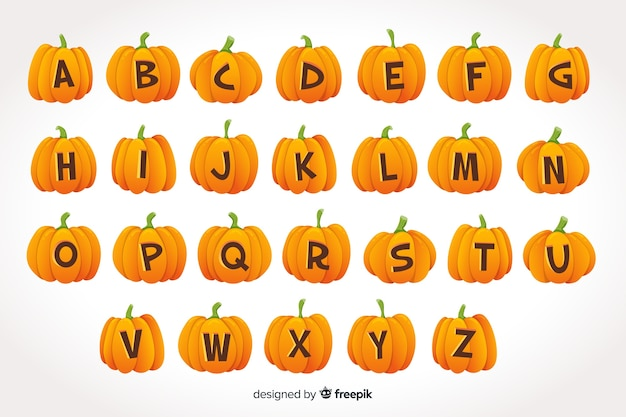 Halloween pumpkin alphabet on gradient background