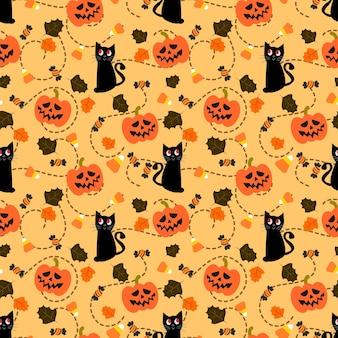 ハロウィーンのカボチャと黒い猫のシームレスパターン