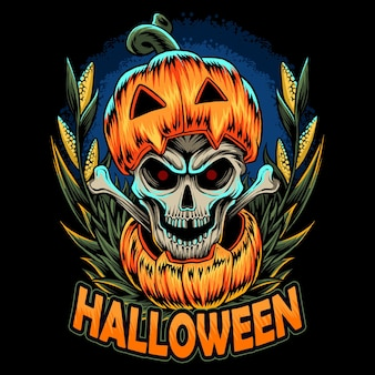Тыква на хэллоуин с черепом внутри, и этот дизайн идеально подходит для футболок на ночь хэллоуина.