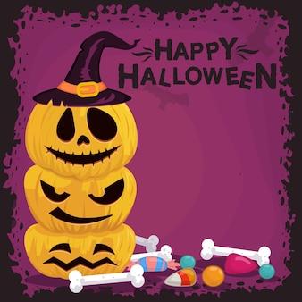 Фон из тыквы на хэллоуин с конфетами