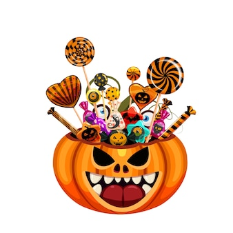 Корзина с тыквами на хэллоуин, полная конфет и сладостей.