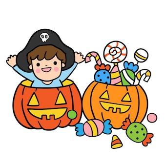 Halloween pumpkin basket full of candies.