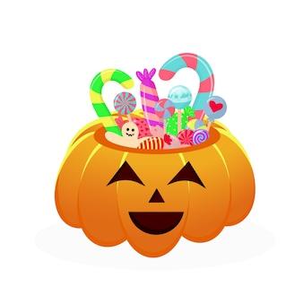 お菓子やお菓子がいっぱいのハロウィンカボチャバスケット