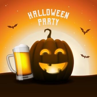 ハロウィーンのカボチャビールパーティーのバナー。ビールジョッキ付きジャック・オー・ランタン。