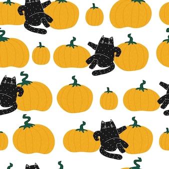 Halloween pumpkin black cartoon cat seamless pattern the cat and the autumn harvest leaf fall