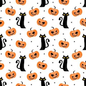 Halloween pumpkin and black cat seamless pattern
