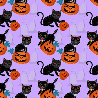 Halloween pumpkin and black cat seamless pattern.