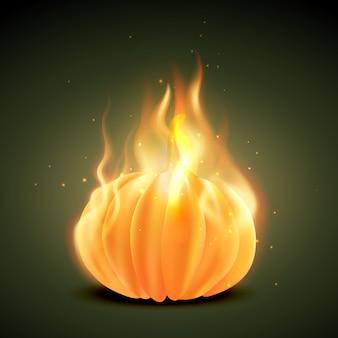 火で燃えているハロウィーンのカボチャ