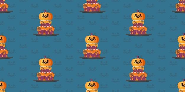 Halloween pumpkin cake seamless pattern.