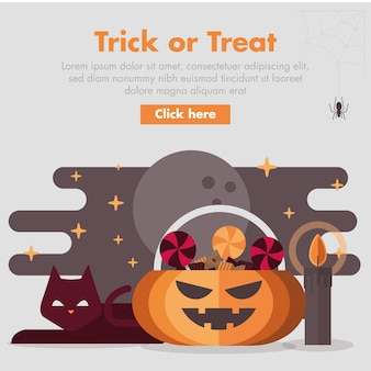 Halloween pumpkin candy storage flat design illustration