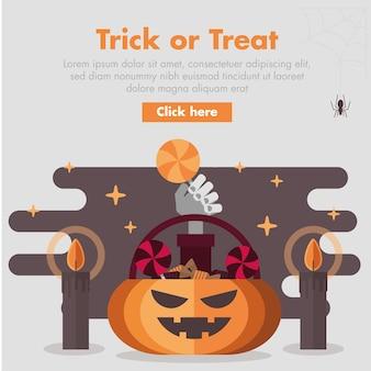 Halloween pumpkin candy storage flat design illustration