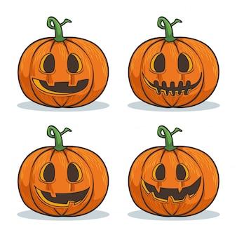 Halloween pumpkin cartoon faces character collection