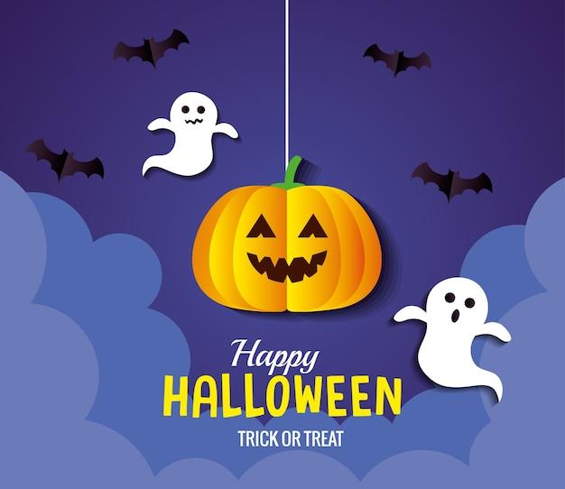 Хэллоуин тыква мультфильм висит с летучими мышами и призраками дизайн, праздник и страшная тема