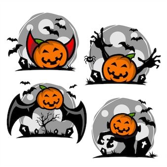 Halloween pumpkin cartoon logo set