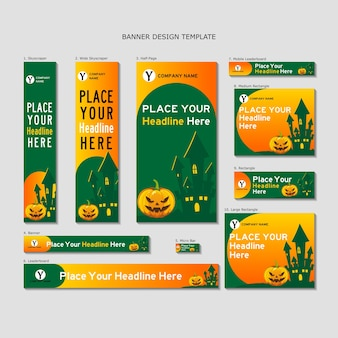 Halloween pumpkin castle banner design template