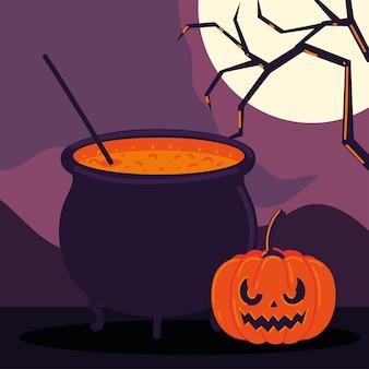 Halloween pumpkin and cauldron