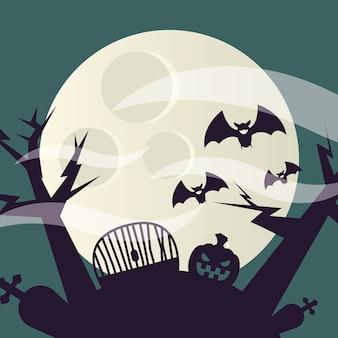 Halloween pumpkin at cemetery design, scary theme