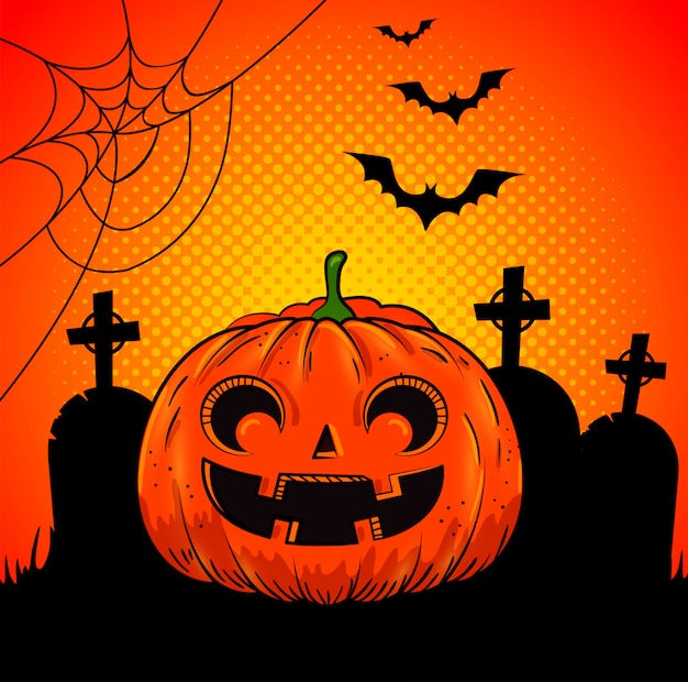 Halloween pumpkin in cemetery in pop-art style