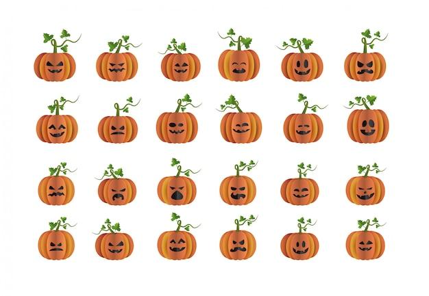 Halloween pumpkin character set paper art style element