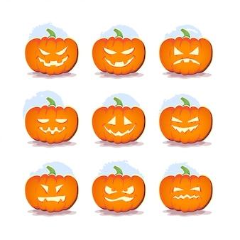 Halloween pumpkin character set. vector flat illustration.