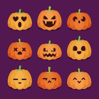 フラットなデザインのハロウィンかぼちゃコレクション